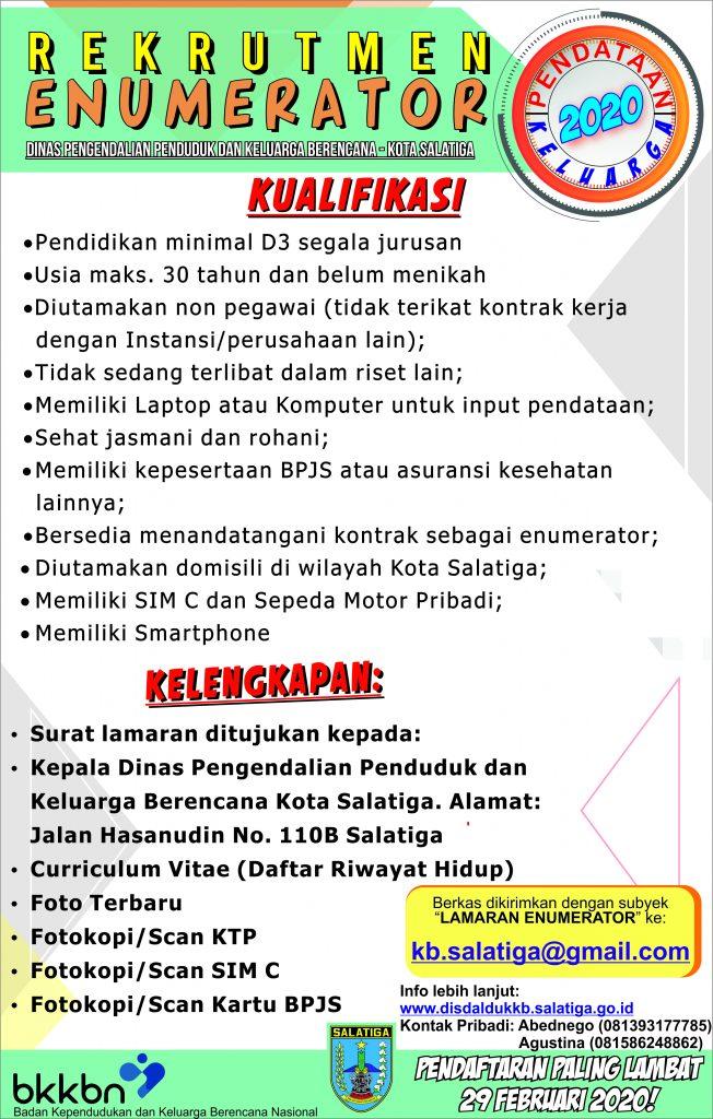 Penerimaan Enumerator DISDALDUKKB Kota Salatiga 2020